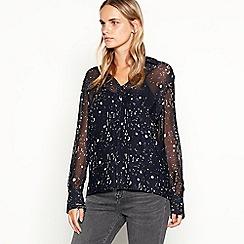 Nine by Savannah Miller - Navy star and moon print chiffon long sleeve shirt
