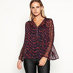Nine by Savannah Miller - Dark red chevron print chiffon blouse