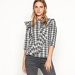 Nine by Savannah Miller - Black check print frill cotton blouse