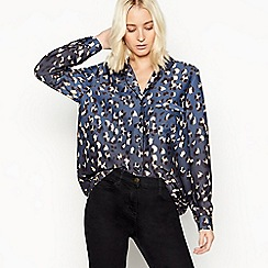 Nine by Savannah Miller - Navy satin animal print blouse