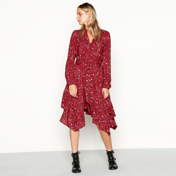 and Savannah by moon star long sleeve Red high print dress Nine Miller low nXS5xaww