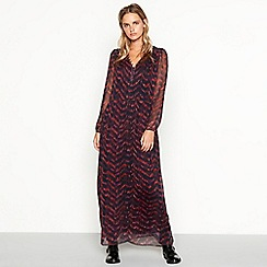 Nine by Savannah Miller - Dark red chevron stripe chiffon long sleeve maxi dress