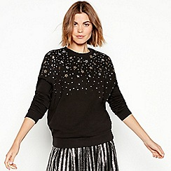 Nine by Savannah Miller - Black star embellished cotton sweatshirt