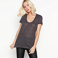 Nine by Savannah Miller - Grey gold-toned stud t-shirt