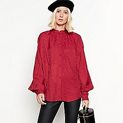 Nine by Savannah Miller - Red leopard jacquard blouse