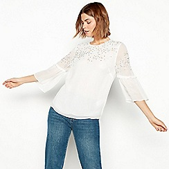 Nine by Savannah Miller - Ivory star embroidered chiffon blouse