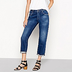 Nine by Savannah Miller - Dark blue roll hem boyfriend jeans