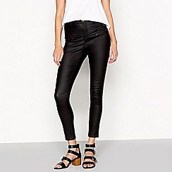 Nine by Savannah Miller - Coated black high waist skinny jeans
