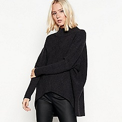 Nine by Savannah Miller - Grey ribbed knit funnel neck jumper