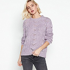Nine by Savannah Miller - Purple Pointelle Stitch Jumper