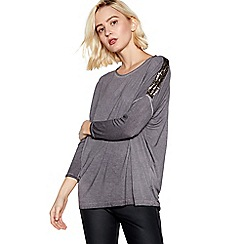 Nine by Savannah Miller - Light Grey Sequin Shoulder Top
