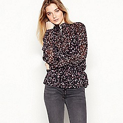 Nine by Savannah Miller - Purple Animal Print Chiffon Shirt