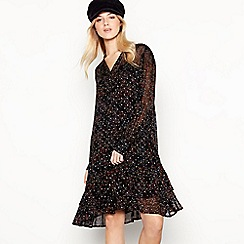 Nine by Savannah Miller - Black Ditsy Print Chiffon Mini Dress