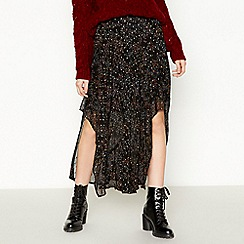 Nine by Savannah Miller - Black Ditsy Print Chiffon Maxi Skirt
