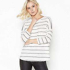 Nine by Savannah Miller - Ivory Striped Beaded Shoulder Top