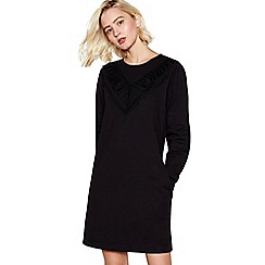 Nine by Savannah Miller - Black Frilled Cotton Mini Sweatshirt Dress