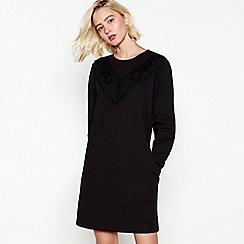 Nine by Savannah Miller - Black Frilled Cotton Mini Sweatshirt Dress