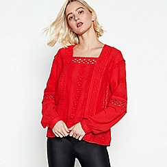 Nine by Savannah Miller - Red Floral Embroidered Square Neck Top