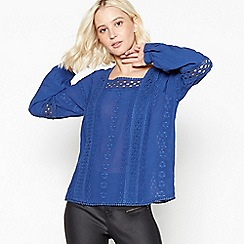 Nine by Savannah Miller - Blue Floral Embroidered Square Neck Top