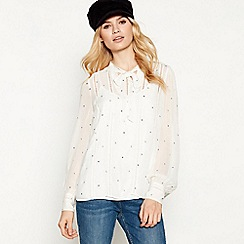 Nine by Savannah Miller - Ivory Star and Moon Embroidered Tie-Neck Blouse