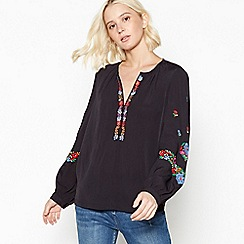 Nine by Savannah Miller - Black Floral Embroidered Blouse