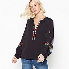 Nine by Savannah Miller - Black Floral Embroidered Blouse