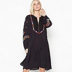 Nine by Savannah Miller - Black Embroidered Placket Knee Length Dress