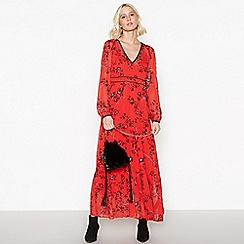 Nine by Savannah Miller - Red Floral Print Maxi Dress