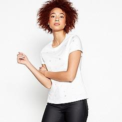 Nine by Savannah Miller - White Reverse Star Print Cotton T-Shirt