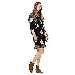 Nine by Savannah Miller - Black rose print v-neck mini skater dress