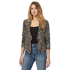 Nine by Savannah Miller - Grey sequin waterfall jacket