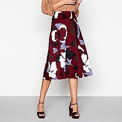J by Jasper Conran - Dark red floral print skirt