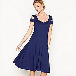 J by Jasper Conran - Navy double strap V-neck knee length skater dress