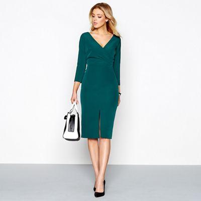 J by Jasper Conran Green v-neck knee length pencil dress | Debenhams