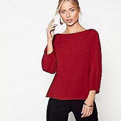 J by Jasper Conran - Red tuck sleeves crepe top