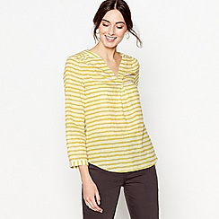 J by Jasper Conran - Bright yellow long sleeves v-neck stripe top