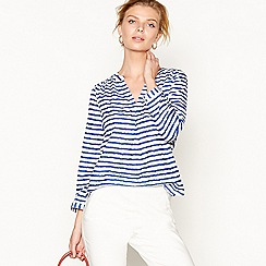 J by Jasper Conran - Bright blue voile stripe V-neck top