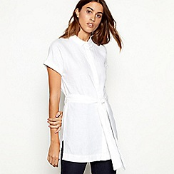 J by Jasper Conran - White pure linen wingtip collar short sleeve tunic top