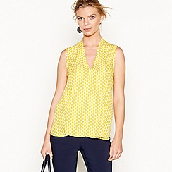 J by Jasper Conran - Dark yellow chiffon pleated sleeveless top