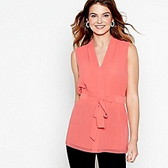 J by Jasper Conran - Pink sleeveless tie waist top