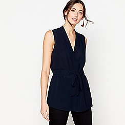 J by Jasper Conran - Navy sleeveless tie waist top