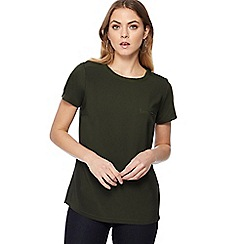 J by Jasper Conran - Dark green jersey chest pocket t-shirt