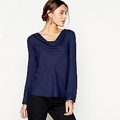 J by Jasper Conran - Navy long sleeved drape neck top