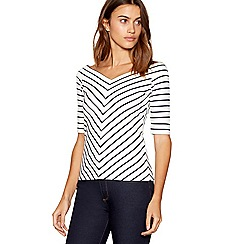 J by Jasper Conran - Ivory striped V-neck top