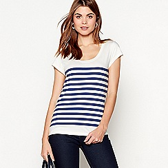 J by Jasper Conran - Blue short sleeve stripe print cotton blend t-shirt
