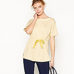 J by Jasper Conran - Yellow jersey stripe tie waist t-shirt