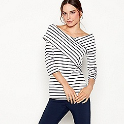 J by Jasper Conran - Ivory stripe print Bardot neck top
