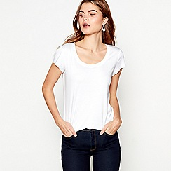 J by Jasper Conran - White short sleeve cotton modal blended t-shirt