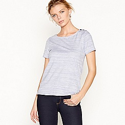 J by Jasper Conran - Blue stripe button shoulder t-shirt