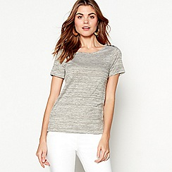 J by Jasper Conran - Khaki and dark cream fine striped top